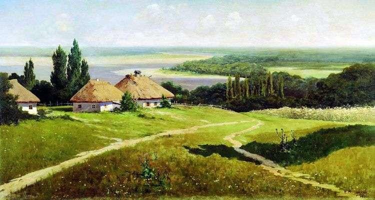 Украинский пейзаж с хатами   Владимир Маковский