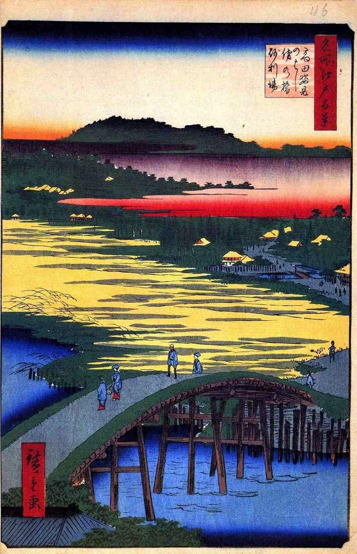 Мост Сугатамихаси, мост Омо кагэхаси и селение Дзяриба   Утагава Хиросигэ