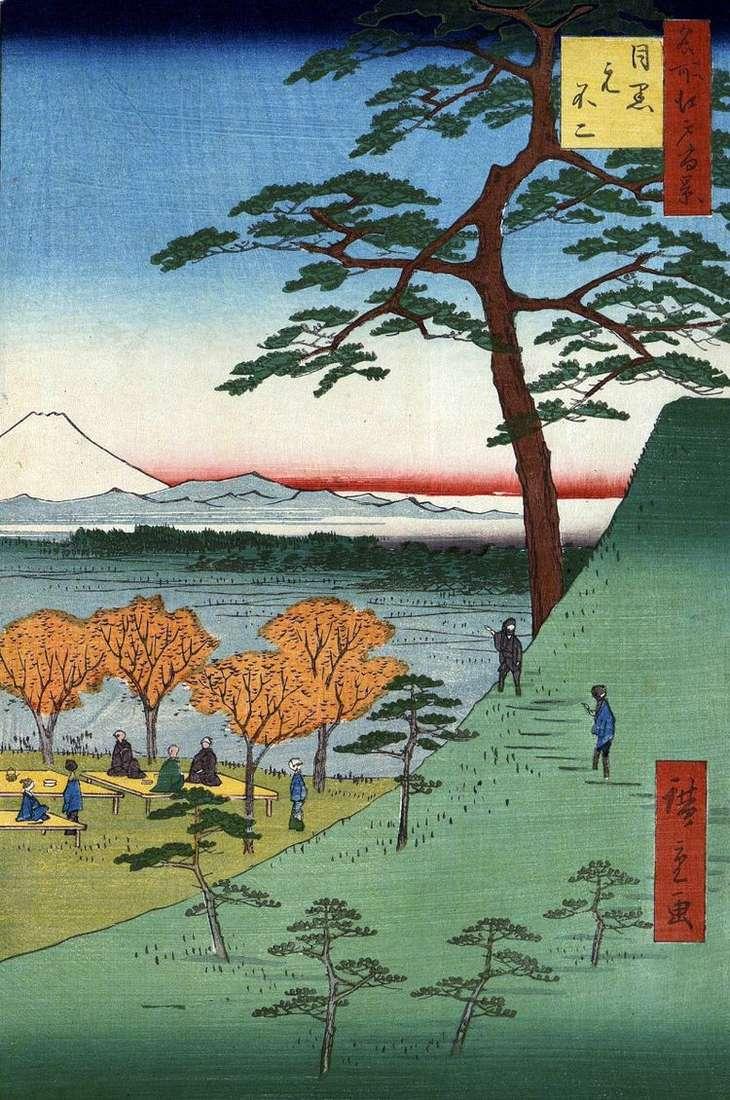 Мотофудзи в Мэгуро   Утагава Хиросигэ