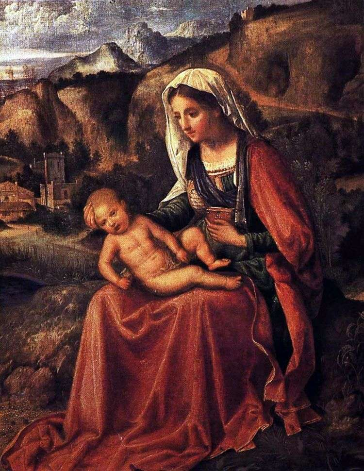 Мадонна с младенцем в пейзаже   Джорджоне Барбарелли да Кастельфранко