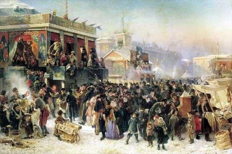 Народное гулянье во время масленицы на Адмиралтейской площади в Петербурге   Константин Егорович Маковский