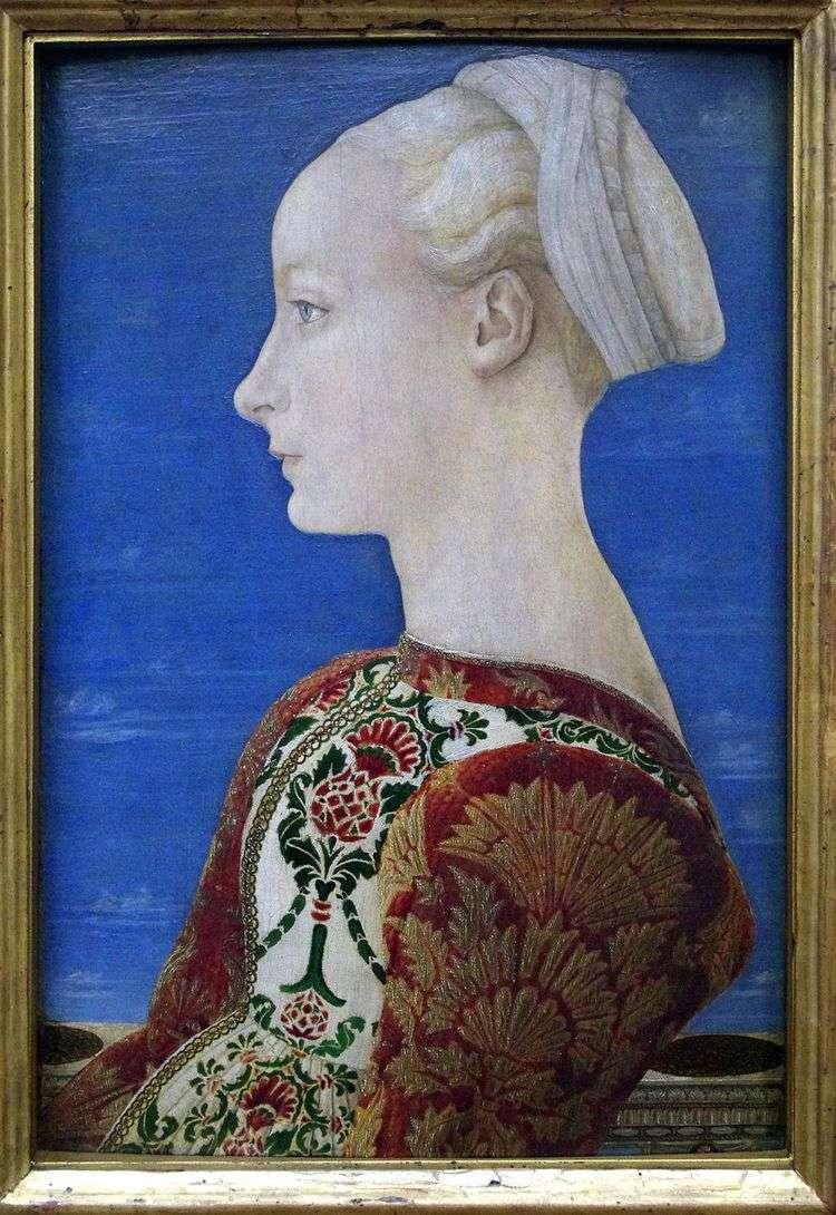 Портрет молодой женщины в левом профиле   Антонио дель Поллайоло