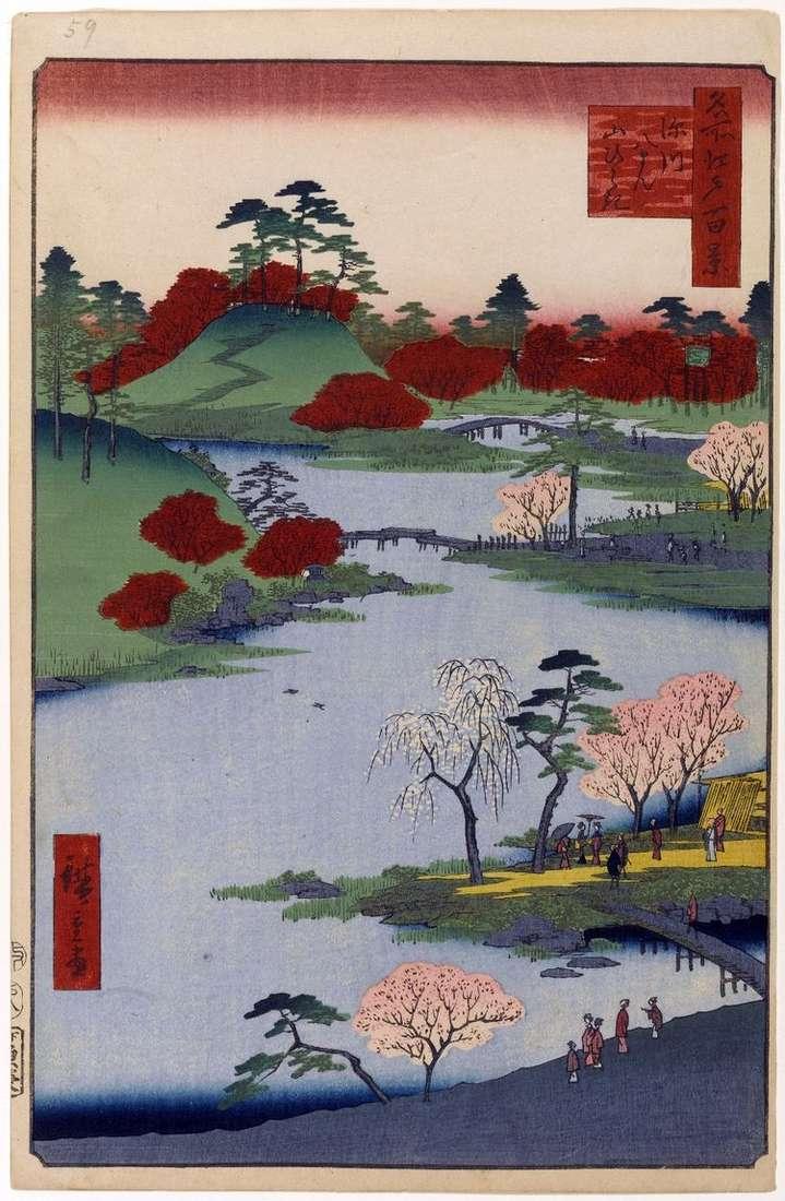 Открытие горы в святилище Хатиман в Фукагава   Утагава Хиросигэ