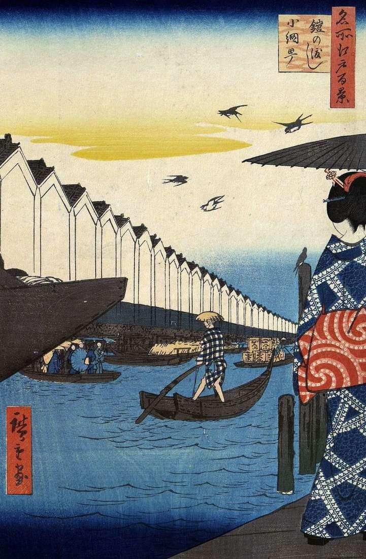 Переправа Ерои но ватаси к кварталу Коамите   Утагава Хиросигэ
