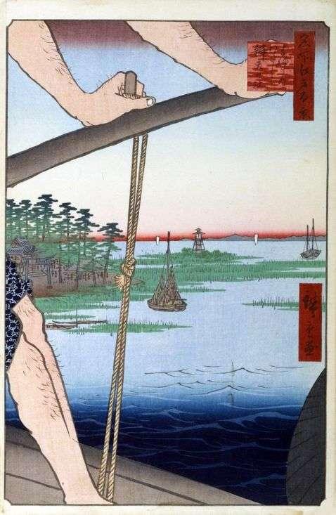 Переправа Ханэда, святилище Бэнтэн   Утагава Хиросигэ