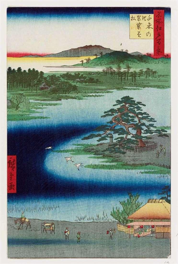 Пруд Сэндзоку но икэ, сосна Кэсакакэмаиу   Утагава Хиросигэ