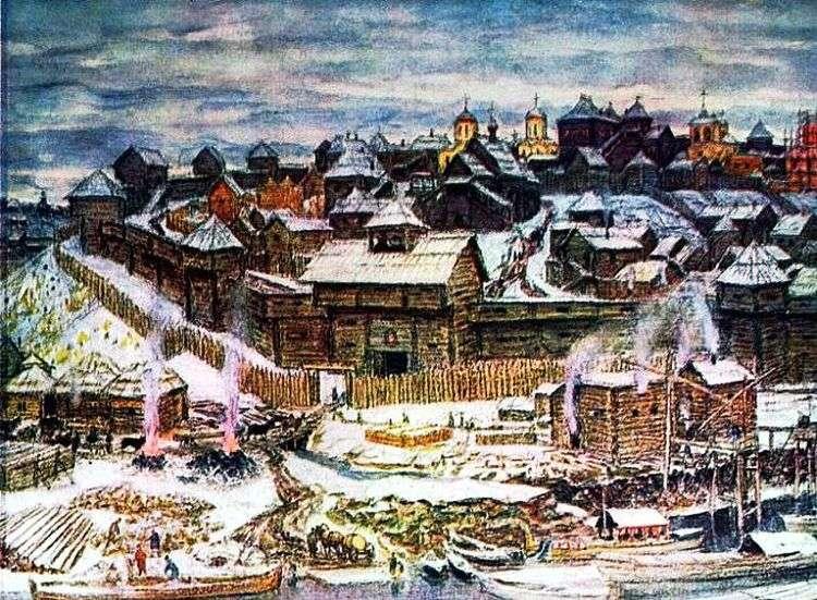 Московский Кремль при Иване Калите   Аполлинарий Васнецов