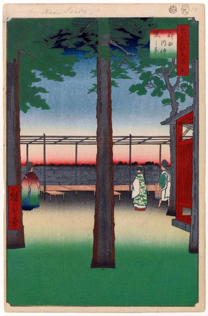 Святилище Канда медзин на рассвете   Утагава Хиросигэ