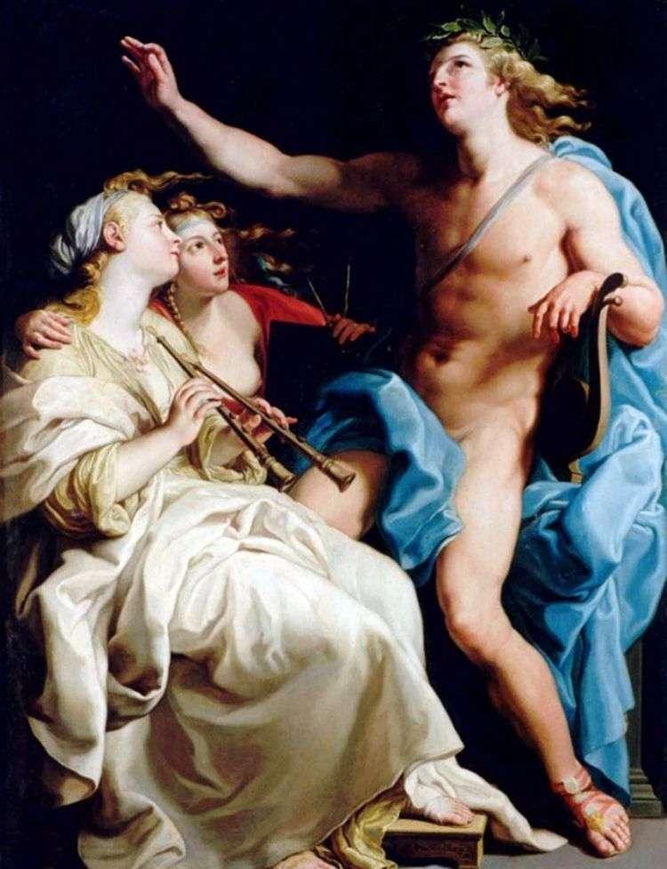 Аполлон и две музы   Батони Помпео