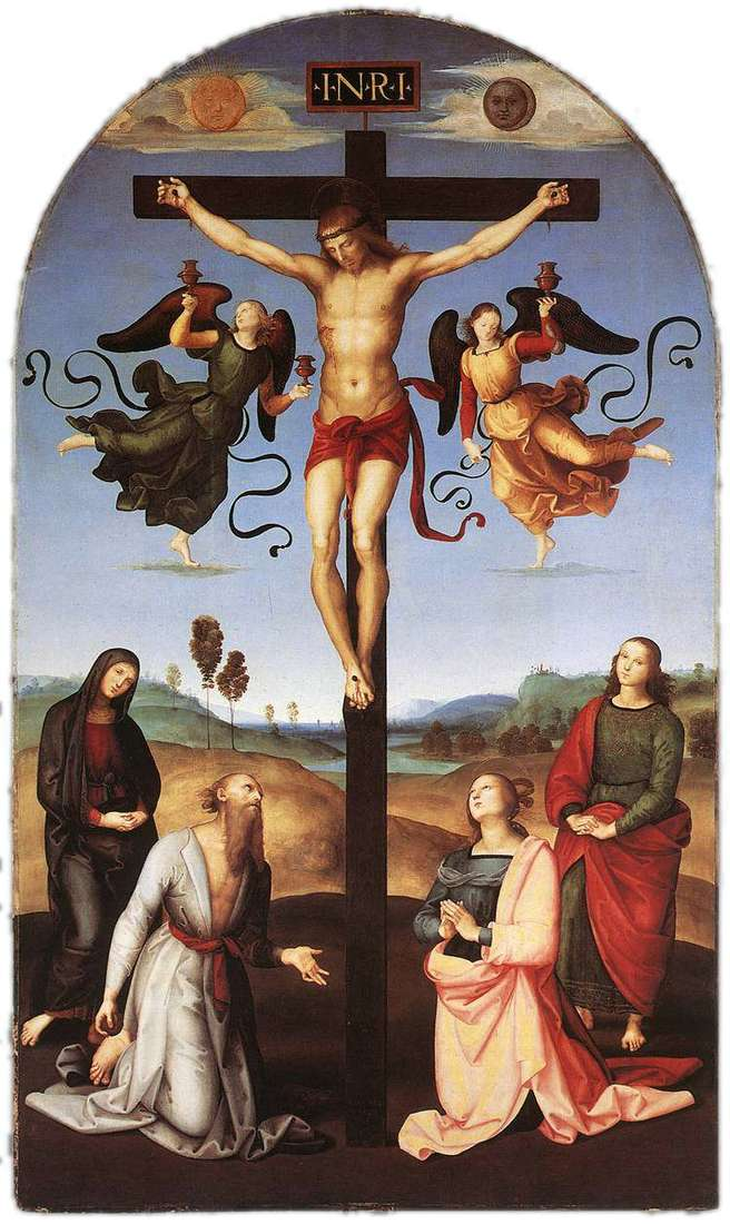 Распятие с Девой Марией, святыми и ангелами   Рафаэль Санти