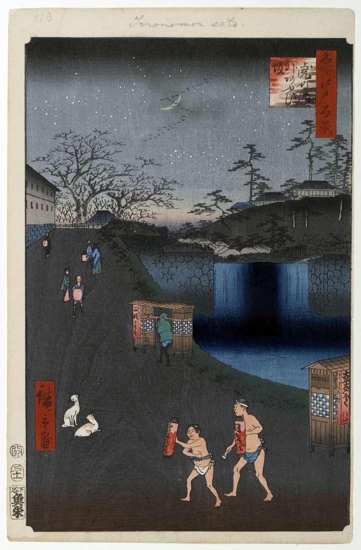 Склон Аоидзака за воротами Тораномон   Утагава Хиросигэ