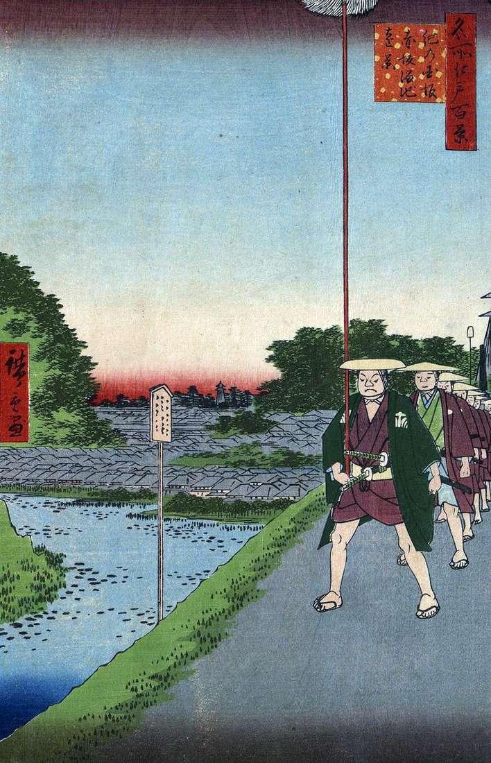 Склон Кинокунидзака и дальний вид на пруд Тамэикэ в Акасака   Утагава Хиросигэ