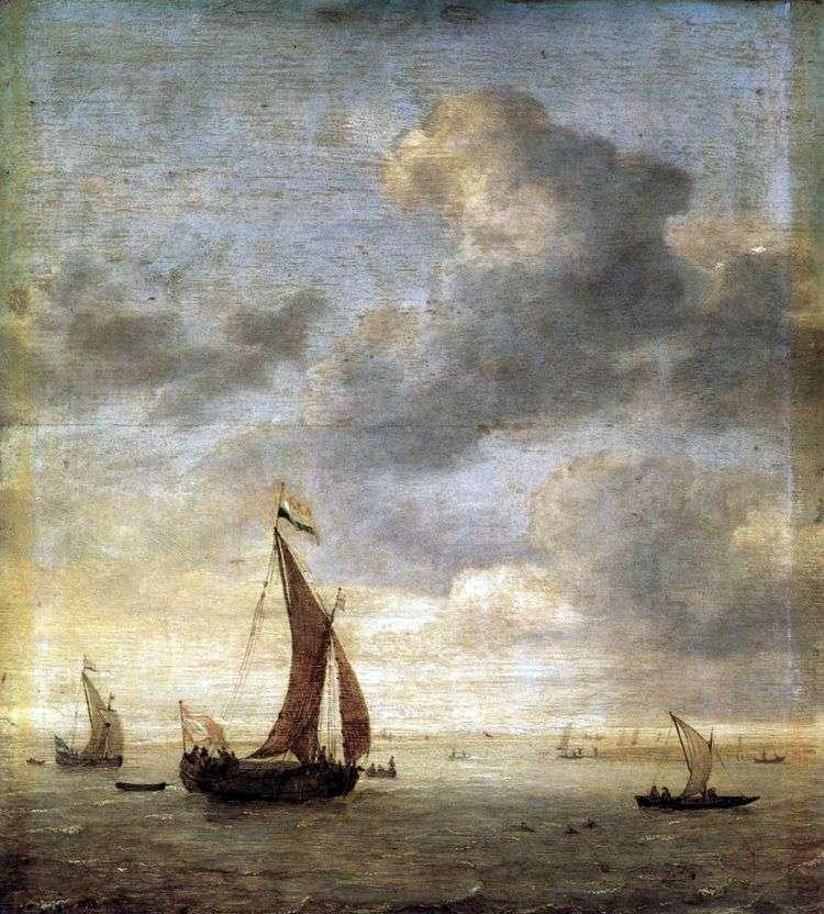 Парусники на море в ветреный день   Ян Порселлис