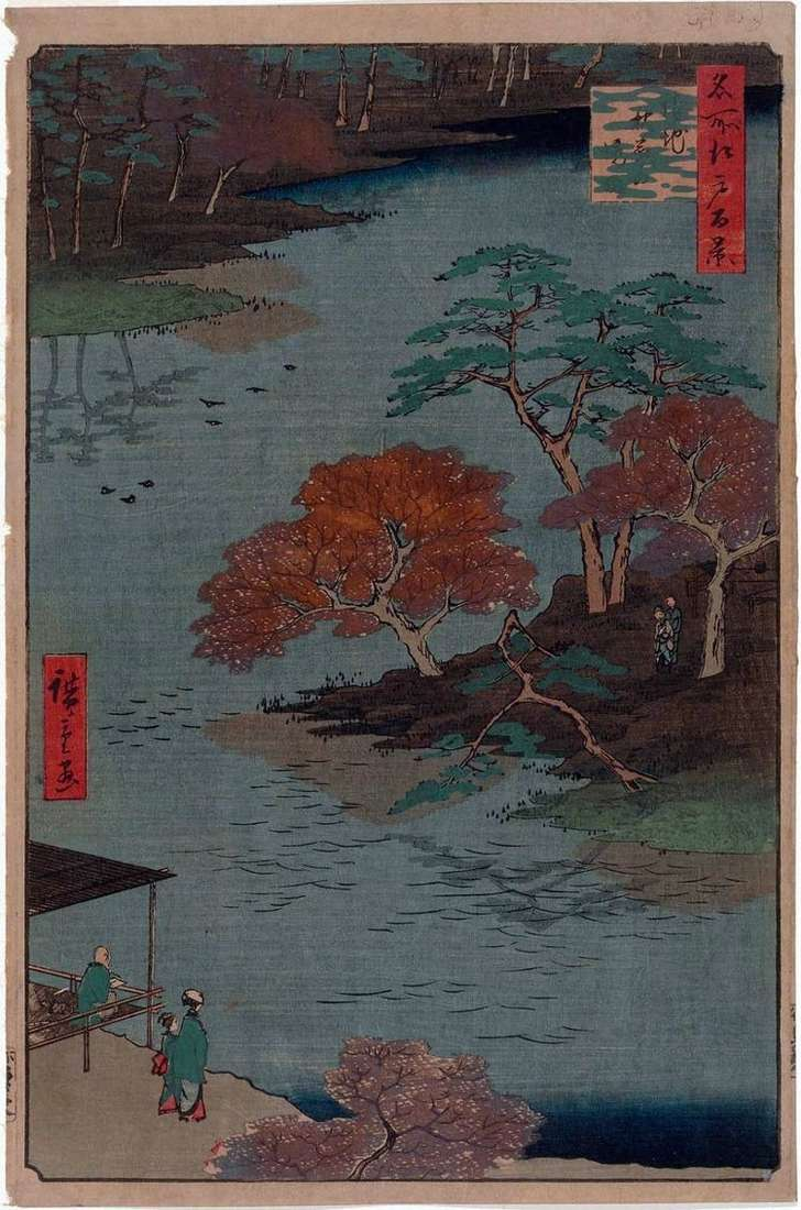 Территория святилища Акиба в Укэти   Утагава Хиросигэ