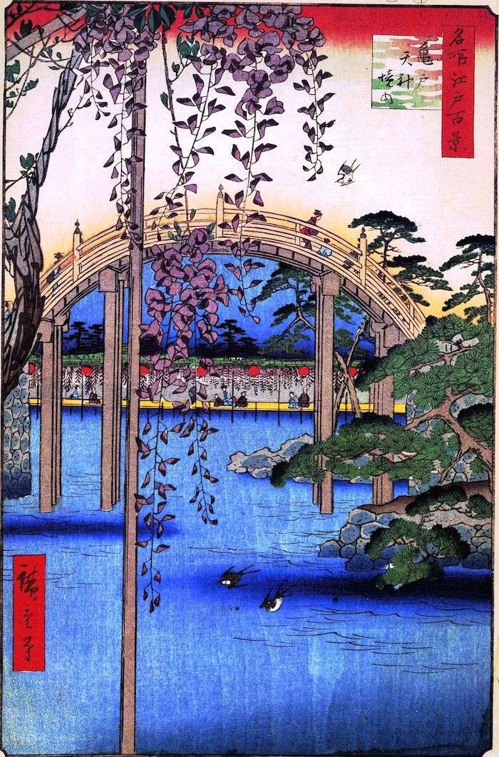 Территория святилища Тэндзин в Камэидо   Утагава Хиросигэ