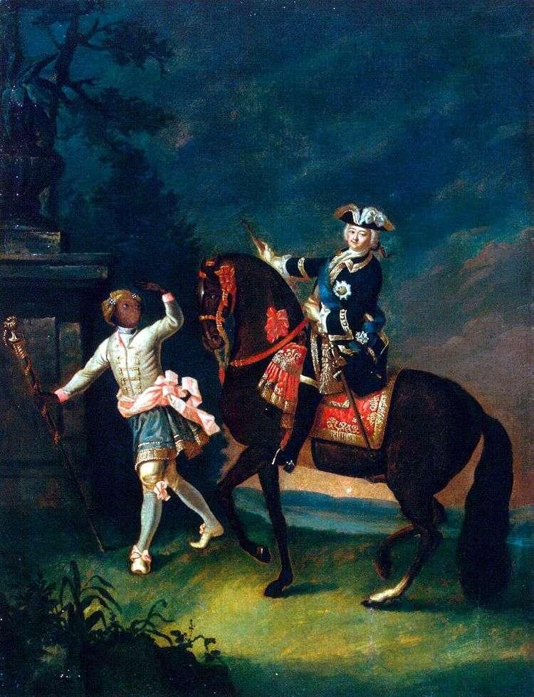 Конный портрет Елизаветы Петровны с арапчонком   Георг Христофор Гроот