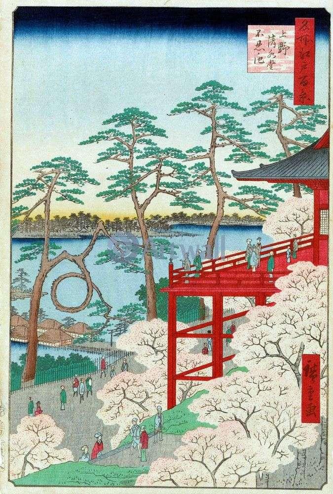 Храм Киемидзудо и пруд Синобадзу но икэ в Уэно   Утагава Хиросигэ
