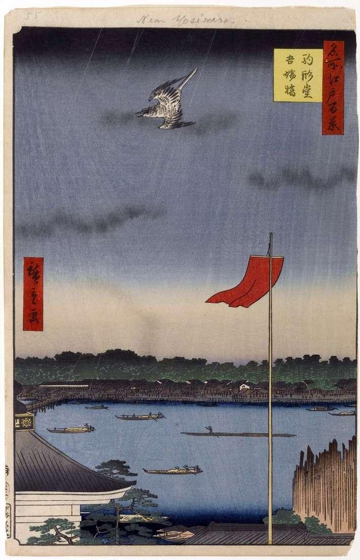 Храм Комакатадо и мост Адзумабаси   Утагава Хиросигэ