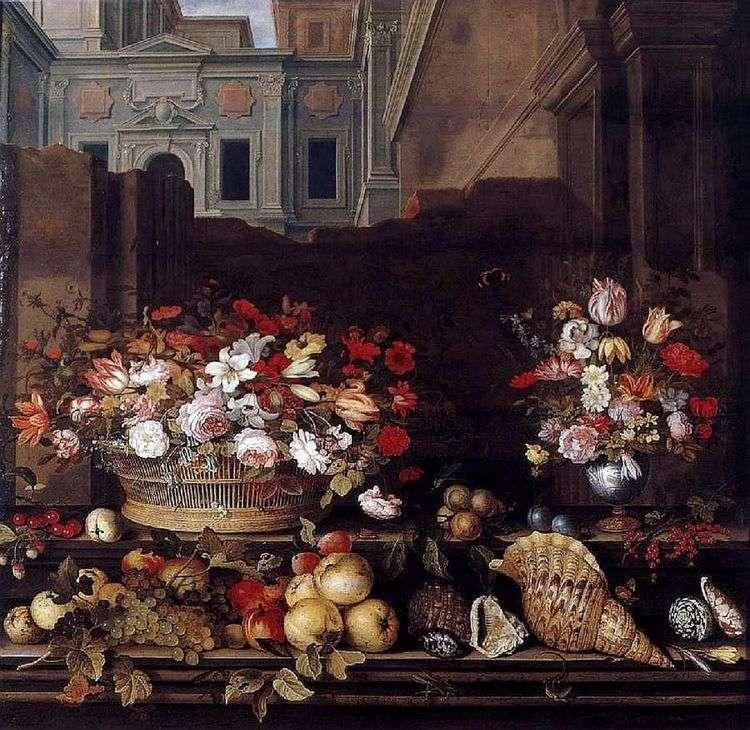 Натюрморт с цветами, фруктами, и раковинами   Бальтазар ван дер Аст