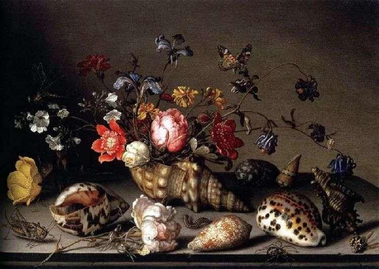 Натюрморт: цветы, раковины, и насекомые   Балтазар ван дер Аст