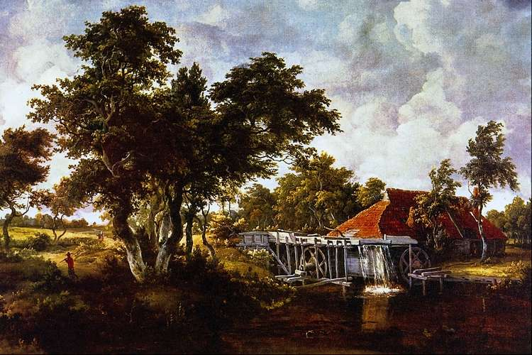 Мельница с красной крышей   Мейндерт Хоббема