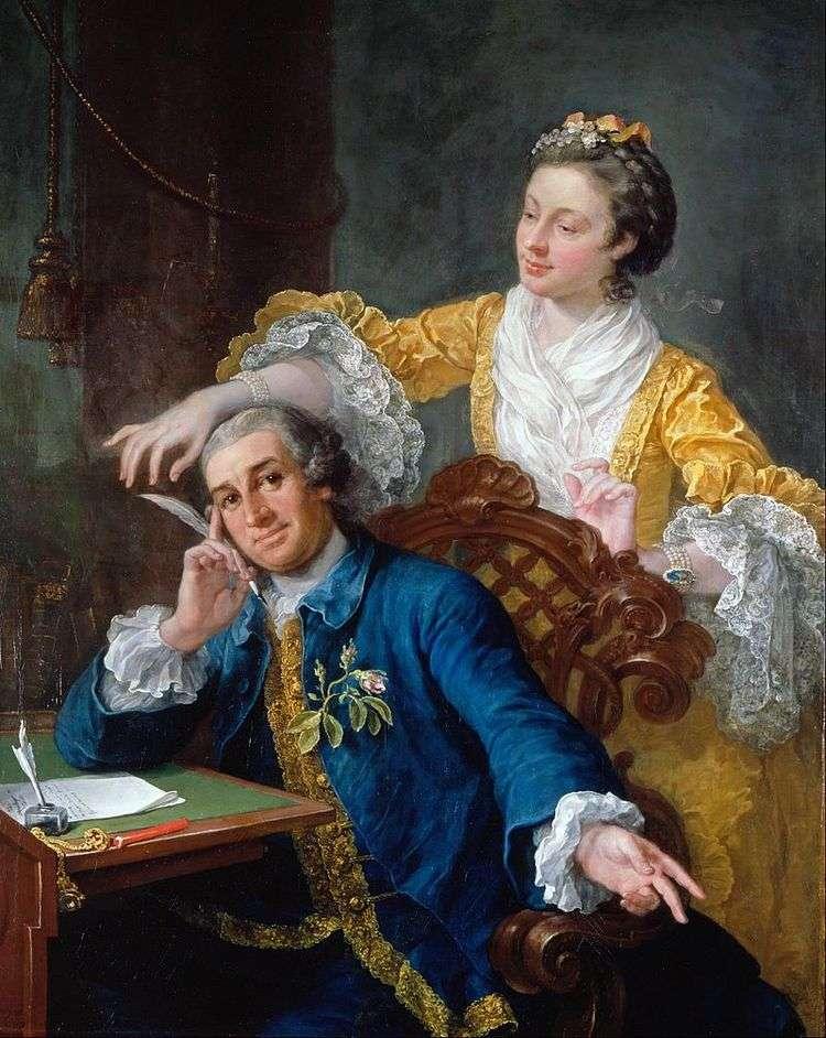 Портрет актера Гаррика с супругой   Уильям Хогарт