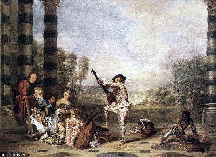 Музыкальное парти в летнем театре   Жан Антуан Ватто