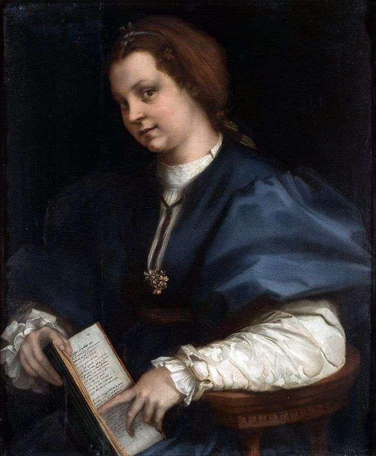 Портрет девушки с книгой стихов Петрарки   Андреа дель Сарто