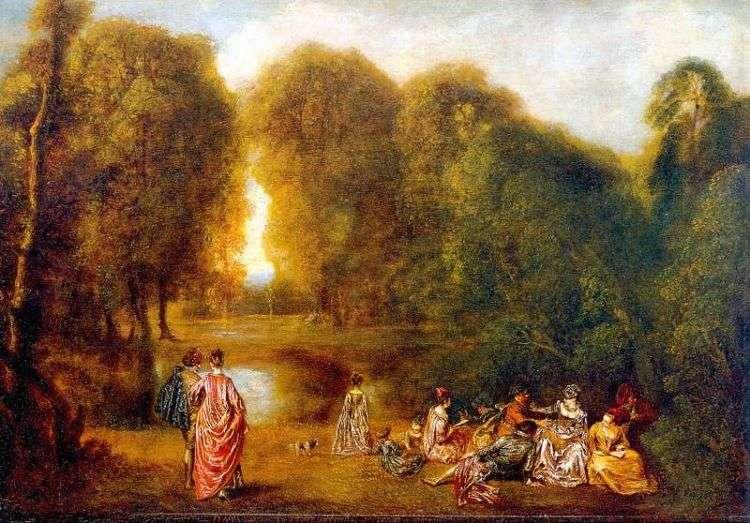 Общество в парке   Жан Антуан Ватто