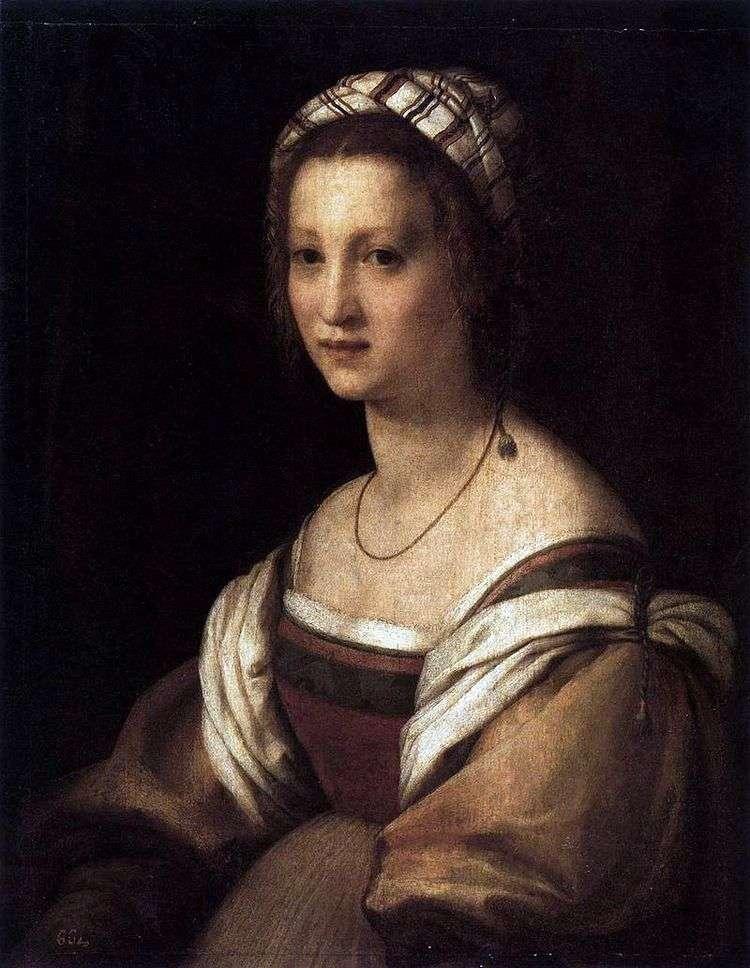 Портрет жены художника.   Андреа дель Сарто