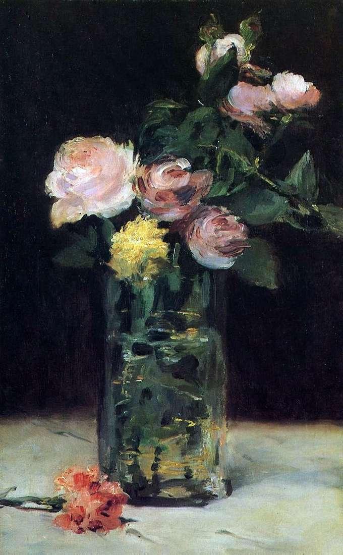 Розы в хрустальной вазе   Эдуард Мане