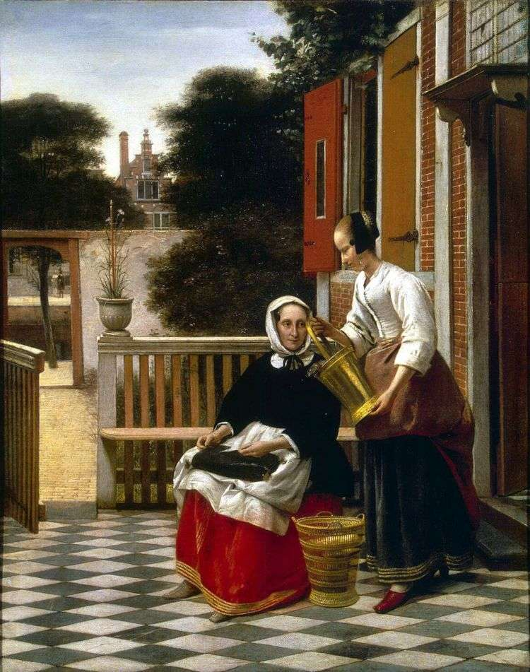 Хозяйка и служанка во внутреннем дворике   Питер де Хох