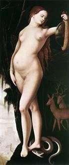 Благоразумие (Женщина с зеркалом и змеей)   Ганс Бальдунг