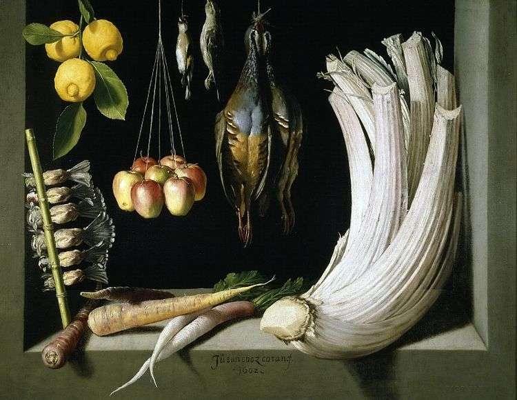 Натюрморт с дичью   овощами и лимонами, Санчес Хуан Котан