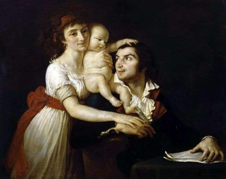 Камиль Демулен с женой Люси и ребенком   Жак Луи Давид