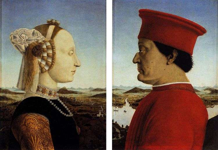 Федериго да Монтефельтро и его супруга Баттиста Сфорца   Франческа Пьеро