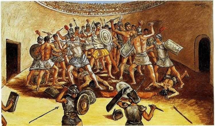 Битва гладиаторов на арене   Джорджо де Кирико