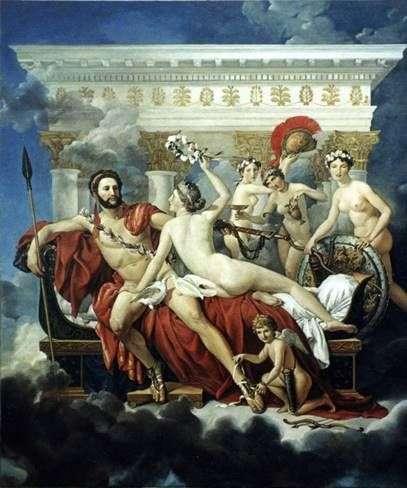 Марс разоруженный Венерой и тремя грациями   Жак Луи Давид