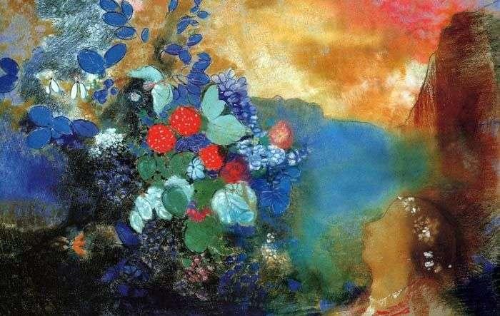 Офелия среди цветов   Одилон Редон