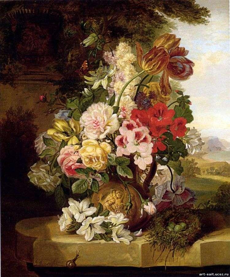 Натюрморт из тюльпанов, роз, других цветов и бабочки   Джон Вейнрайт
