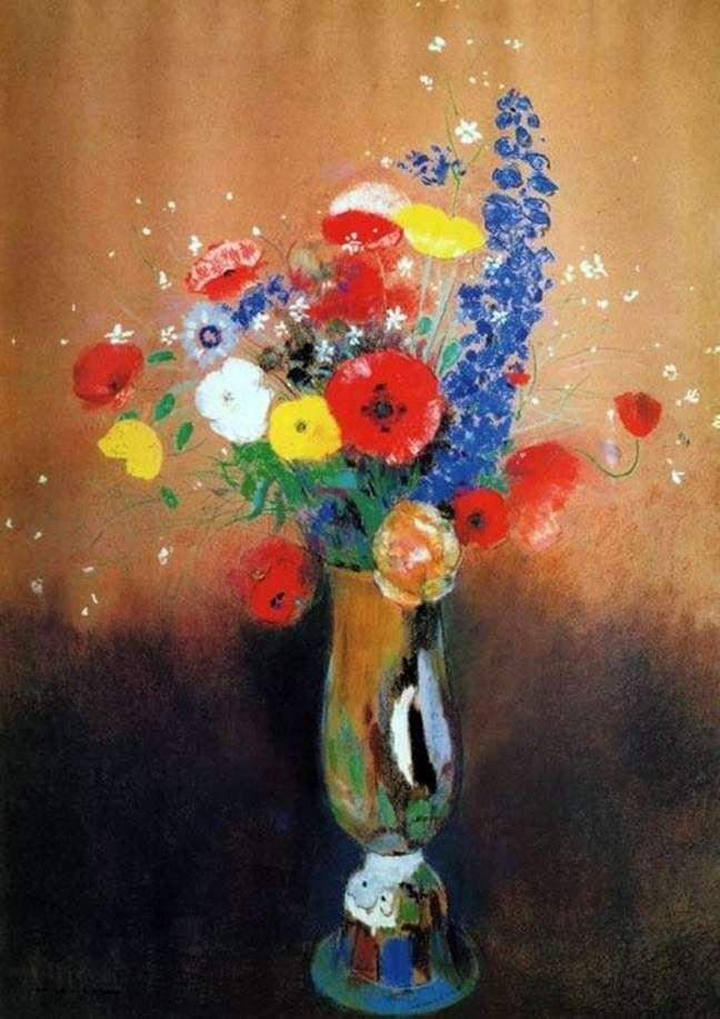 Полевые цветы в высокой вазе   Одилон Редон