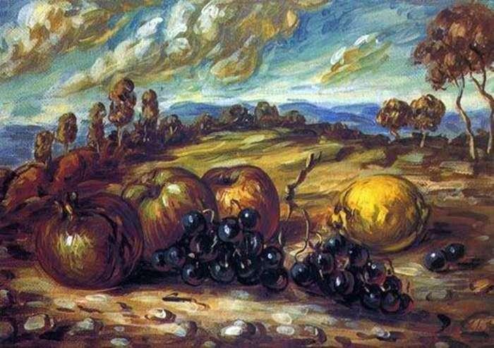 Фрукты в пейзаж   Джорджо де Кирико
