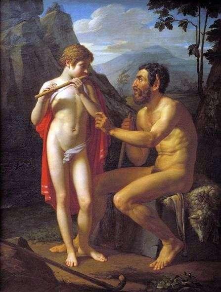 Фавн Марсий учит юношу Олимпия игре на свирели   Петр Басин