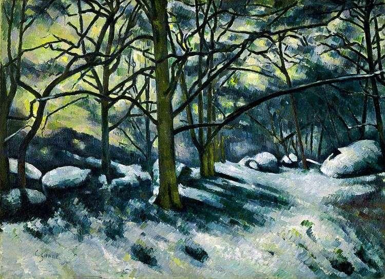 Тающий снег в лесу Фонтенбло   Поль Сезанн