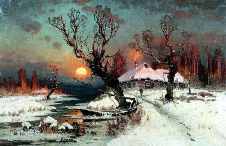 Закат солнца зимой   Юлий Клевер