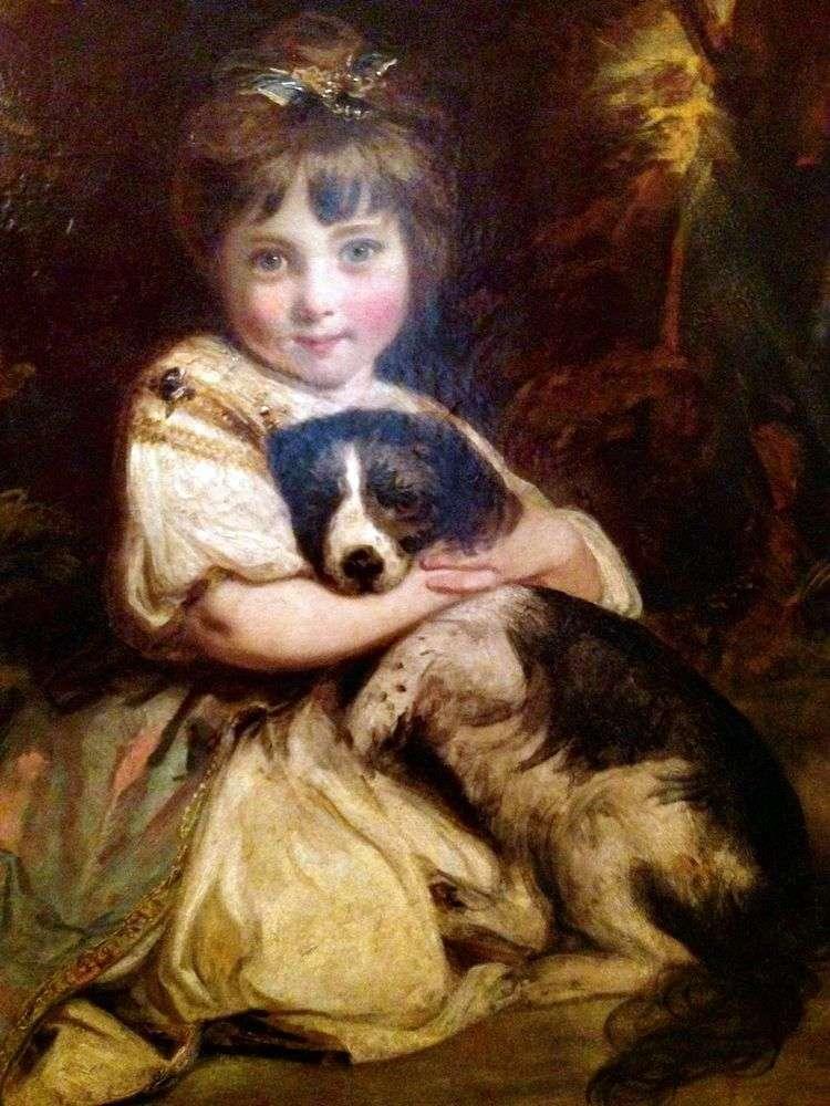 Портрет мисс Боулз с собакой   Джошуа Рейнолдс