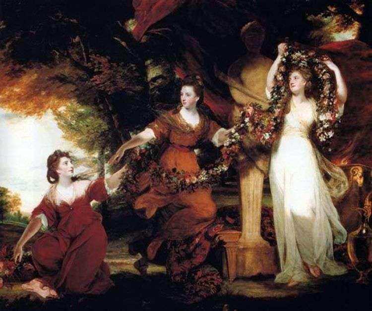 Три сестры Монтгомери в виде граций, украшающих цветами изваяние Гименея   Джошуа Рейнолдс