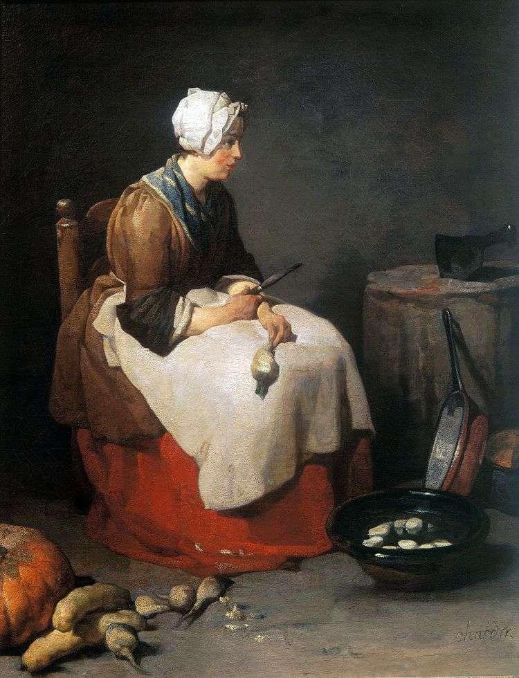 Кухарка, чистящая брюкву   Жан Батист Шарден