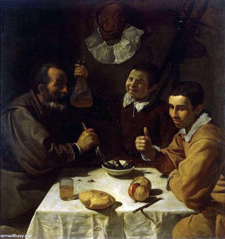 Трое мужчин за столом   Диего Веласкес