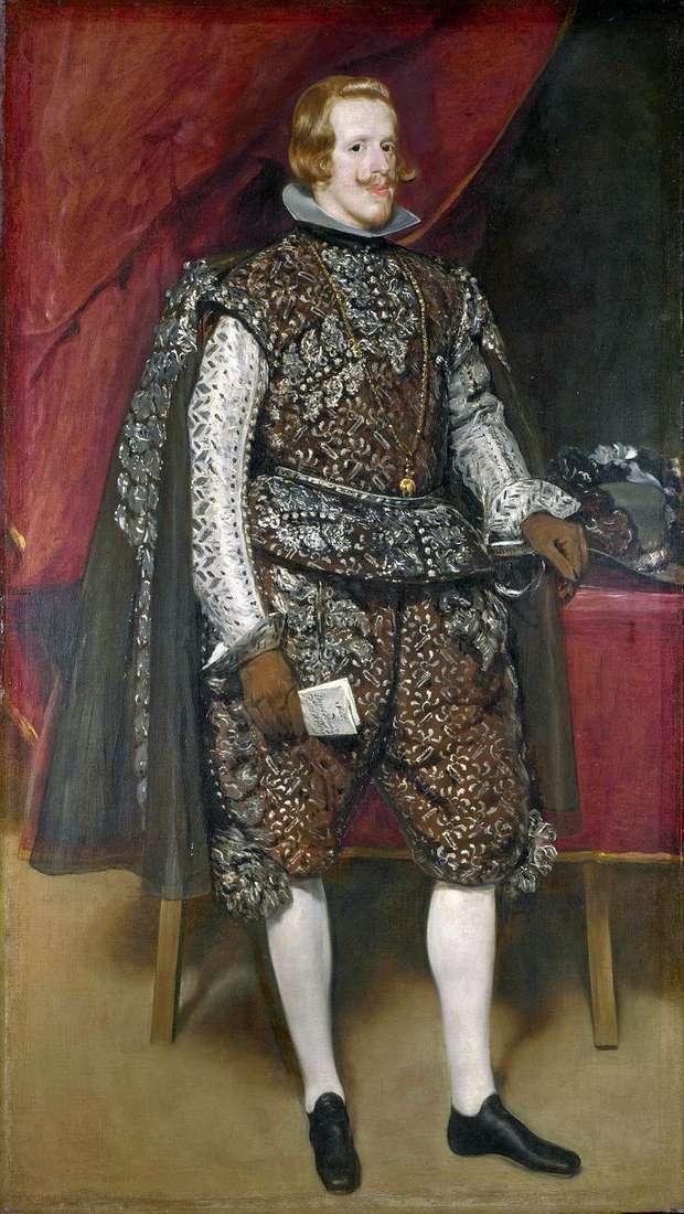 Филипп 4 Испанский в коричневом и серебряном   Диего Веласкес